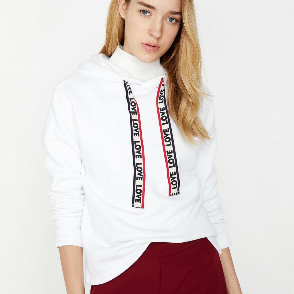 koton sweatshirt modelleri beyaz