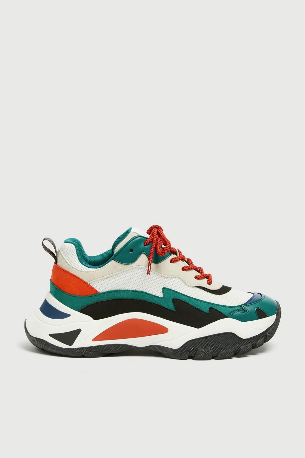 rengarenk dolgu topuk spor ayakkabı