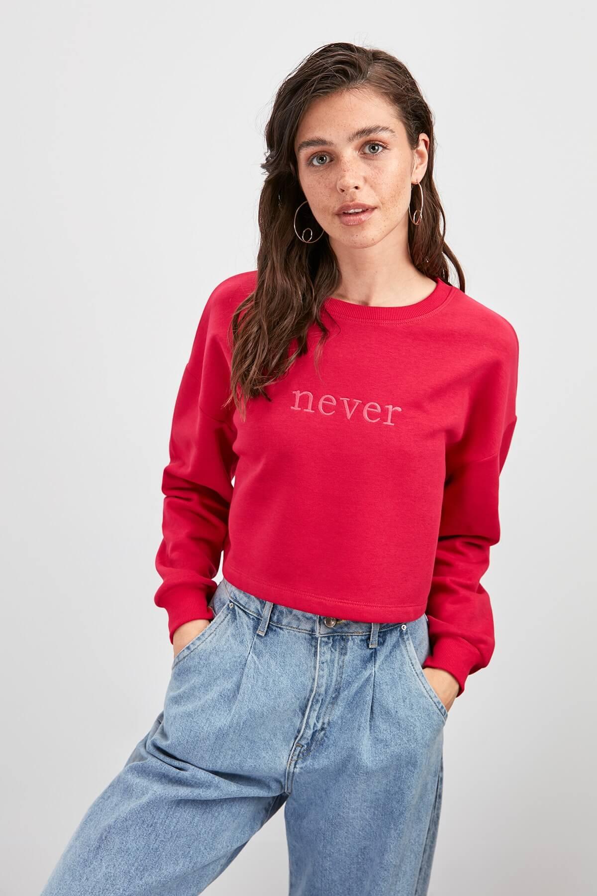 trendyol kadın sweatshirt kırmızı