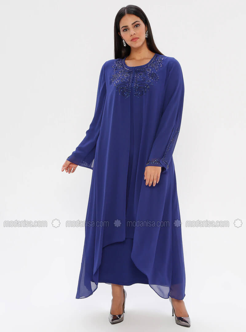 Büyük Beden Mavi Abiye Elbise