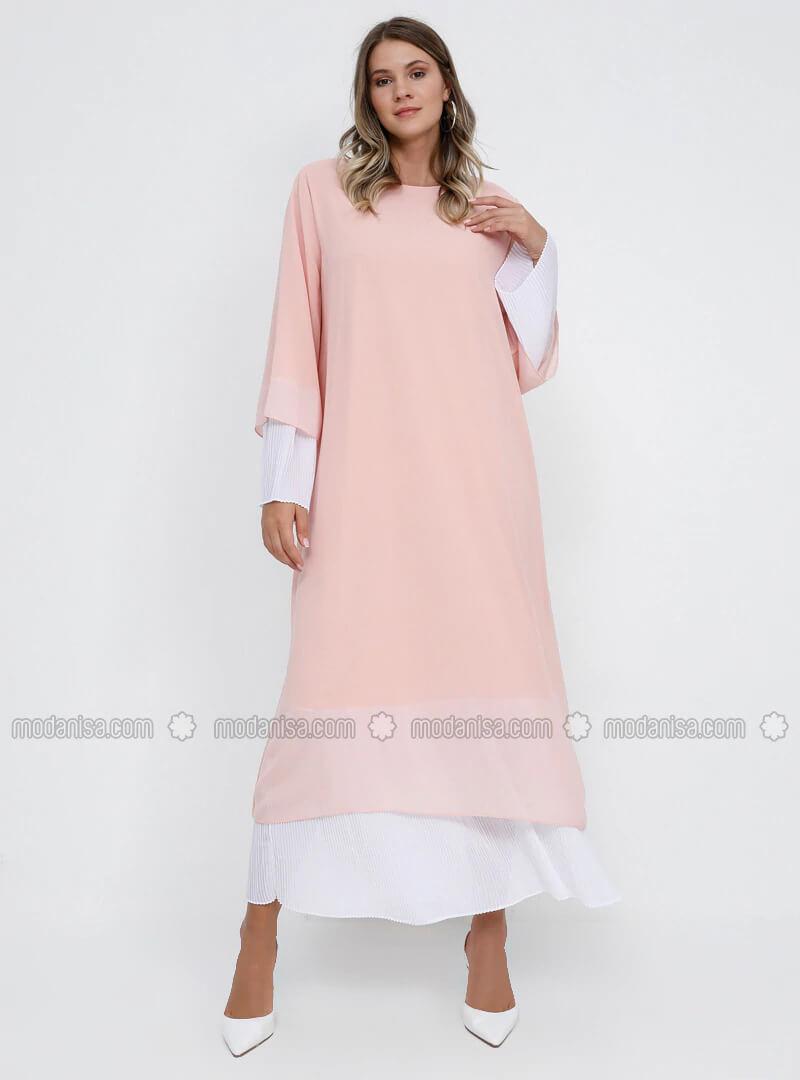 Büyük beden abiye elbise soft pembe