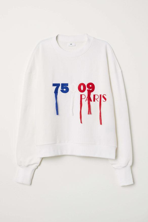 işlemeli beyaz sweatshirt