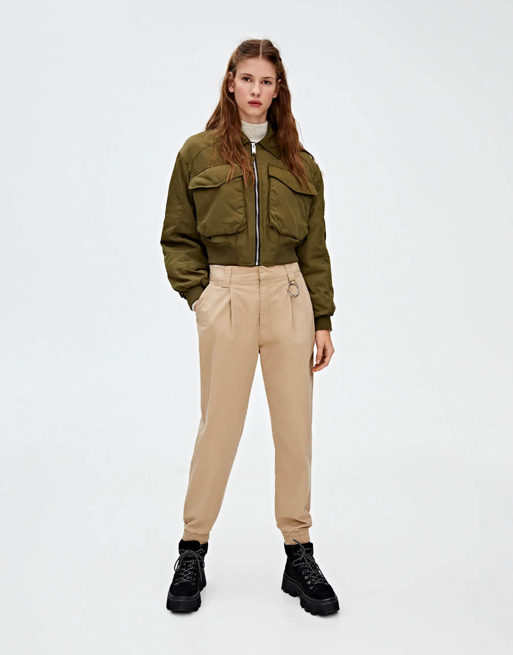 Pull and Bear bomber ceket modelleri kadın bomber ceket