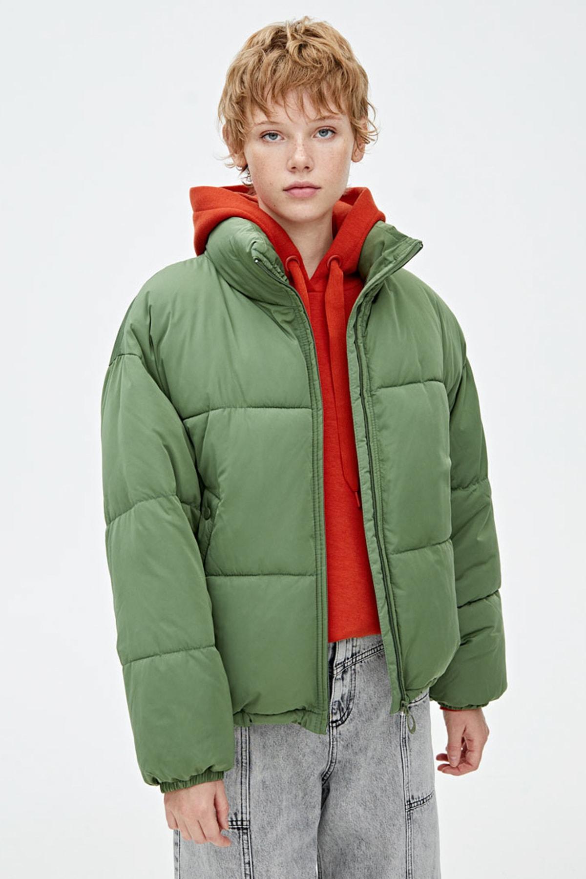 Pull and bear şişme mont kadın yeşil
